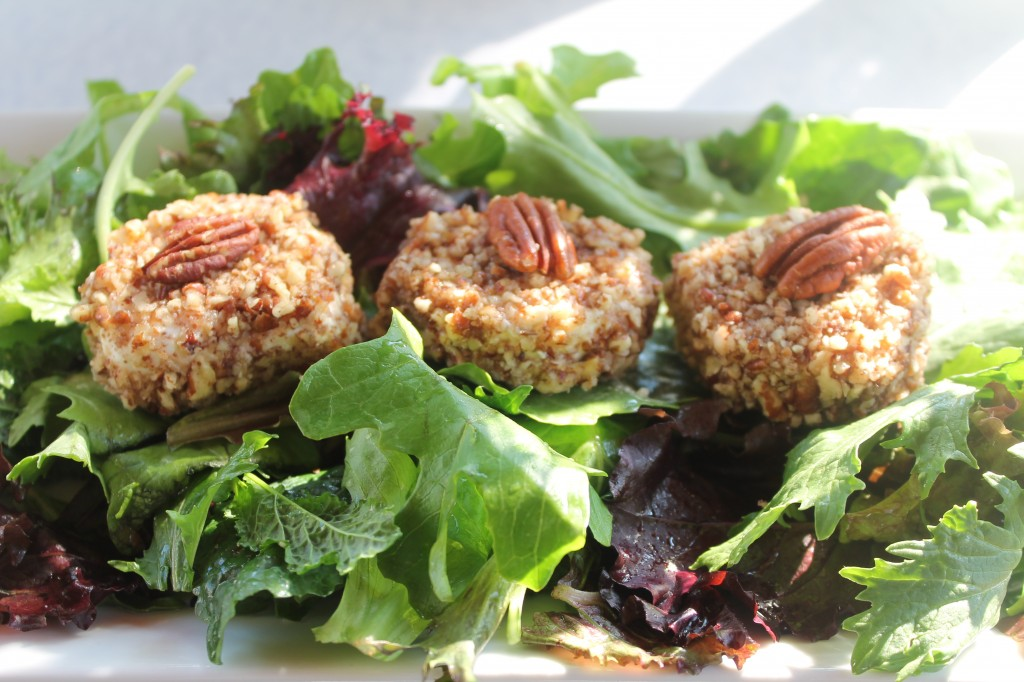 Peacn Crusted Goat Cheese Salad