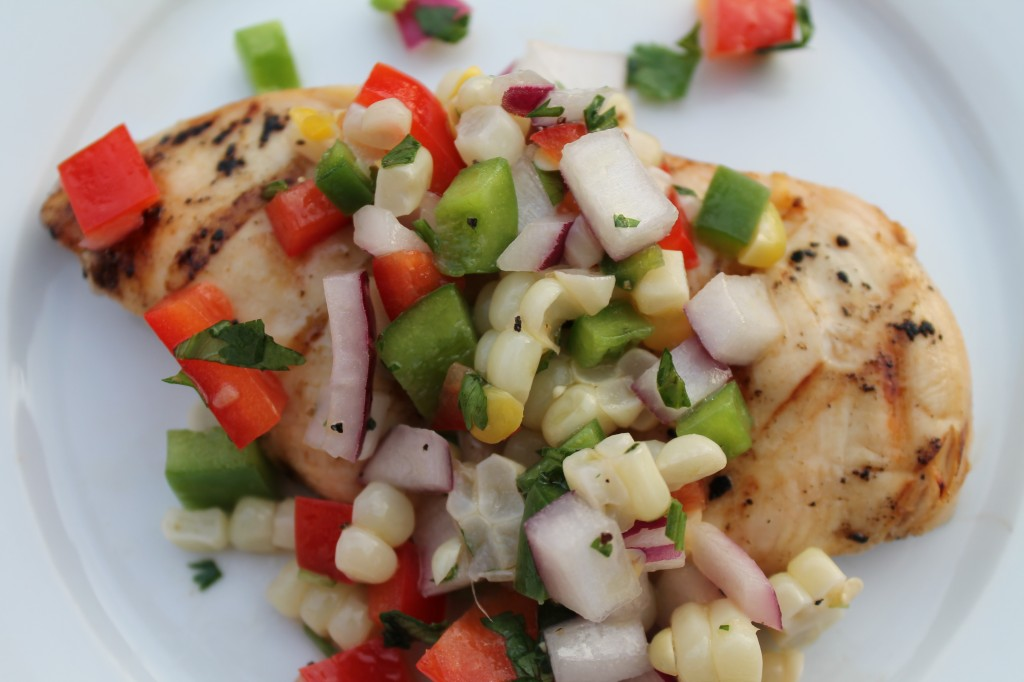 Grilled Chicken, Sweet Corn, Mixed Peppers, Salsa