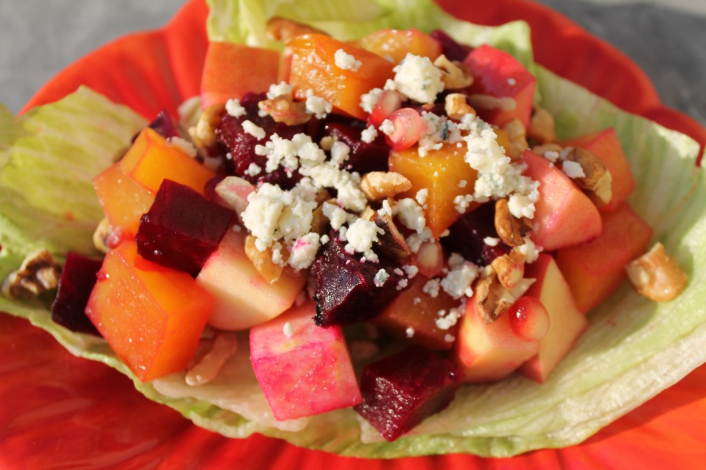 Yellow and Red Beets Salad with Apple, Walnuts, Blue Cheese