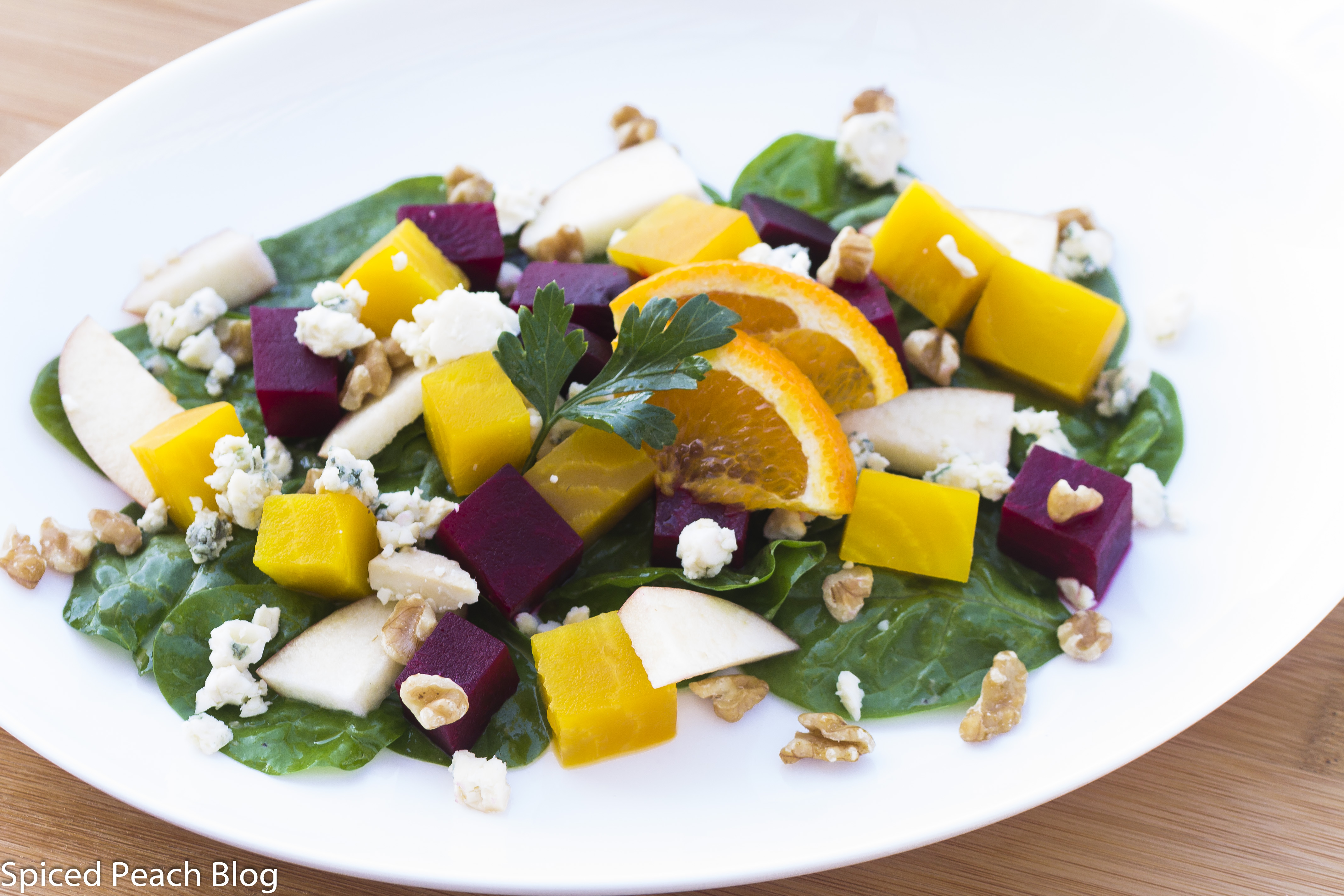 Yellow and Red Beets with Apple, Walnuts and Blue Cheese