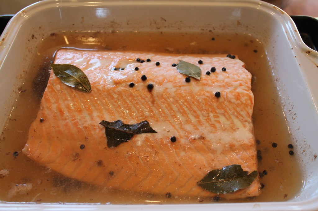 poached salmon in white wine