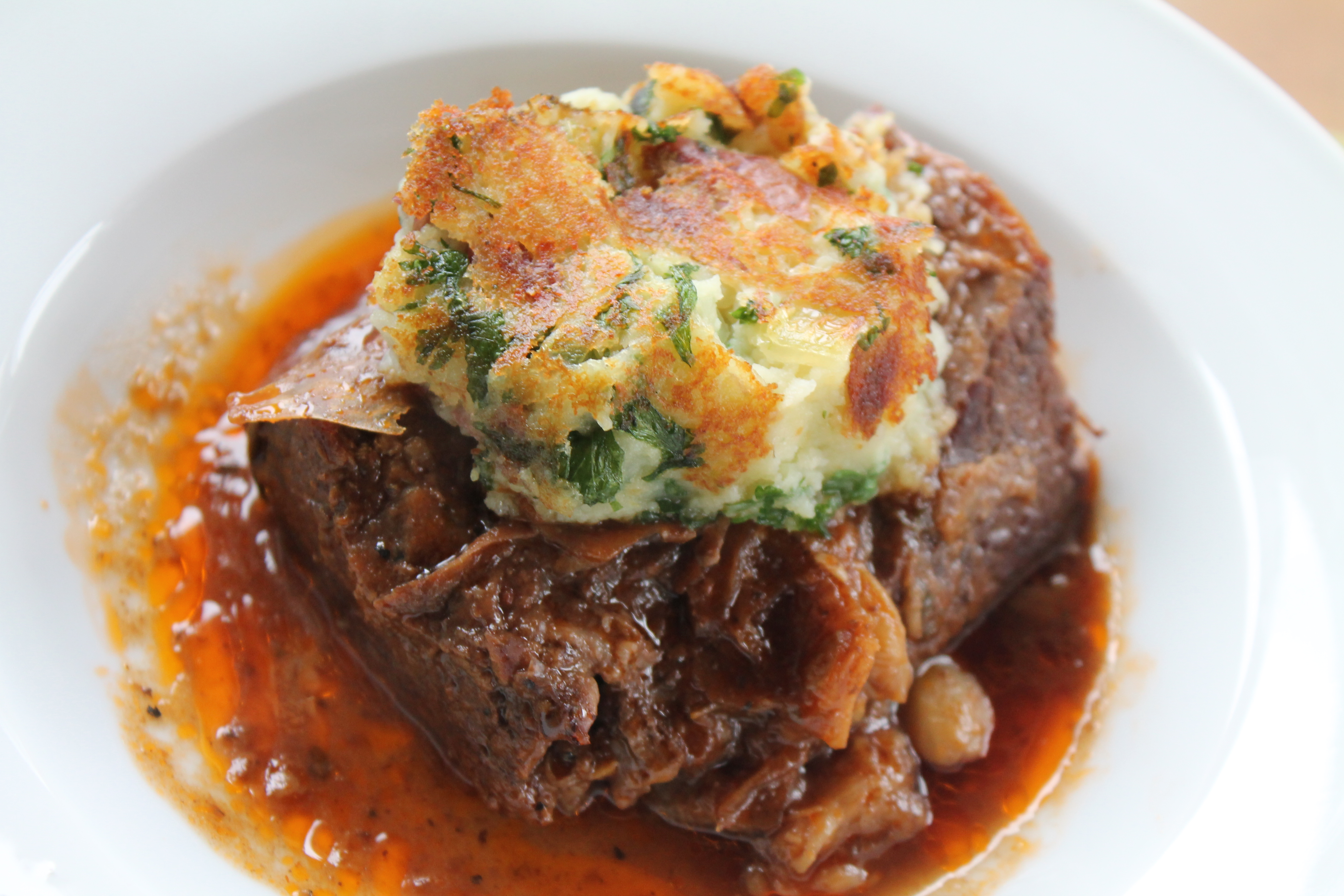 Pot Roast in Red Wine Sauce with Potato Pancakes