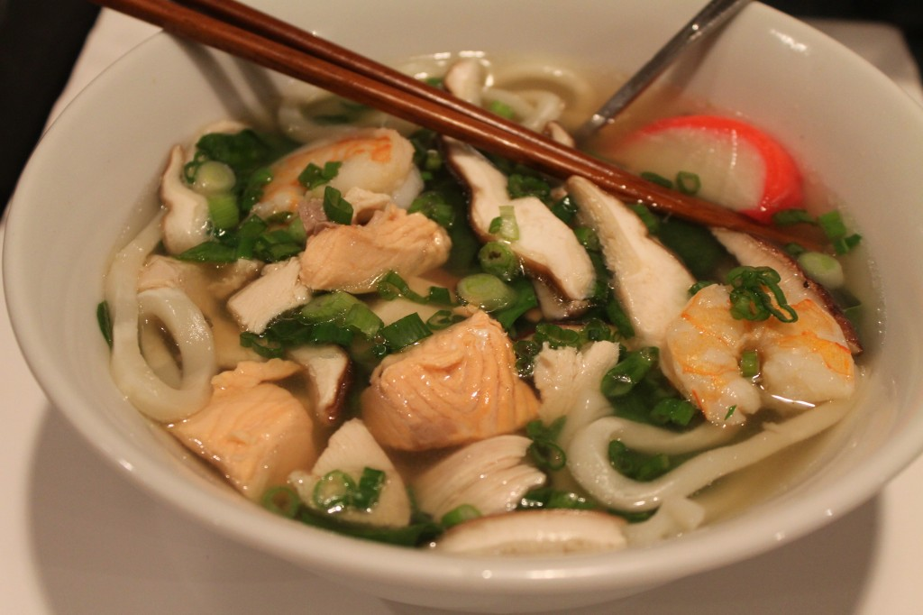 Udon Soup with Salmon, Shrimp, Chicken, and Greens