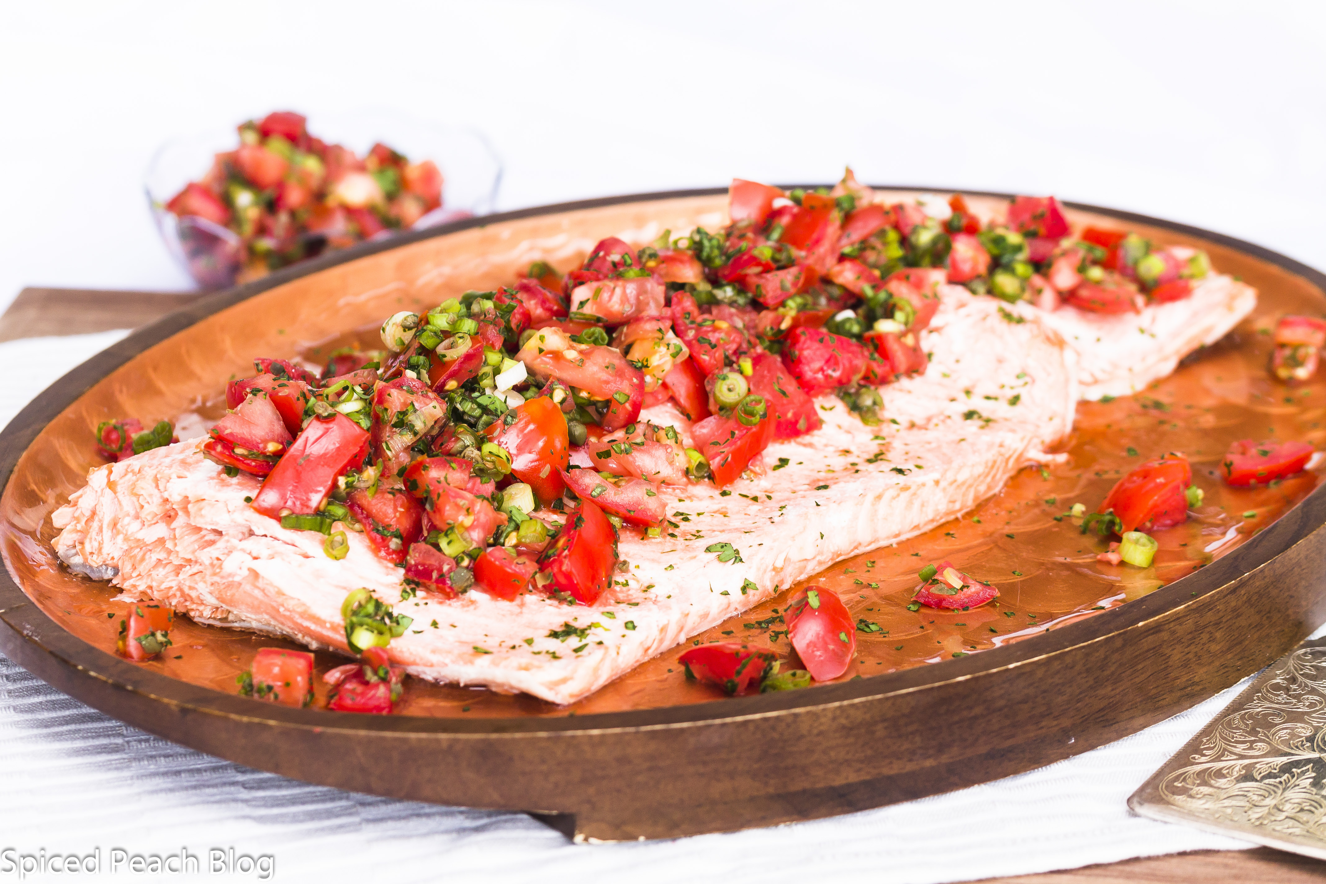 Poached Salmon with Tomatoes Scallions and Capers