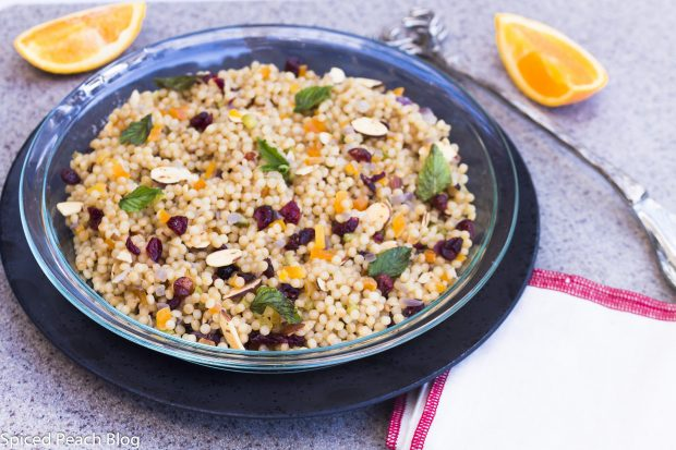 Cous Cous Salad, Dried Fruits, Toasted Almonds, Orange Dressing