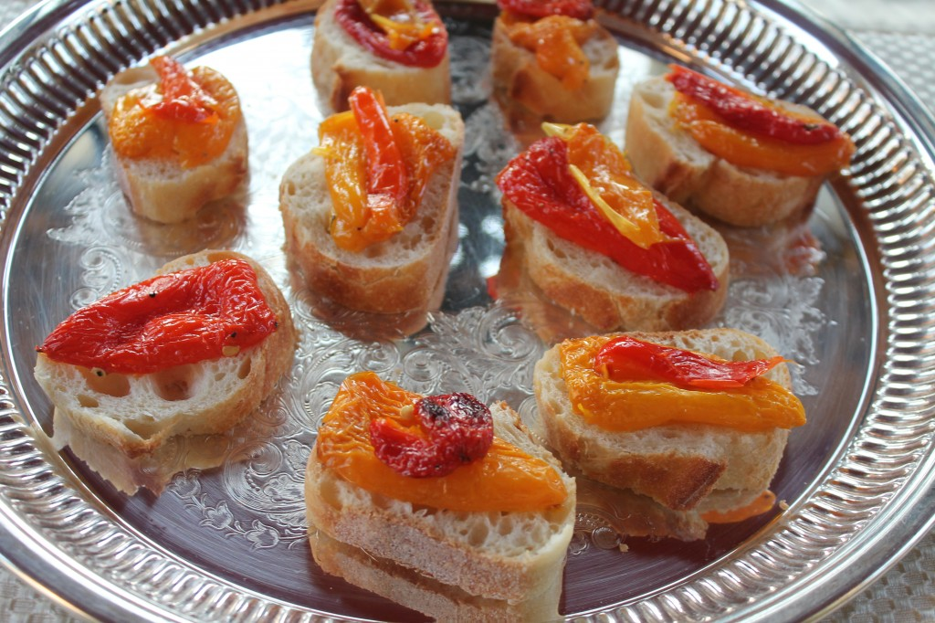 Easy Appetizer, Roasted Mini Yellow and Red Sweet Peppers on Baguette Slices