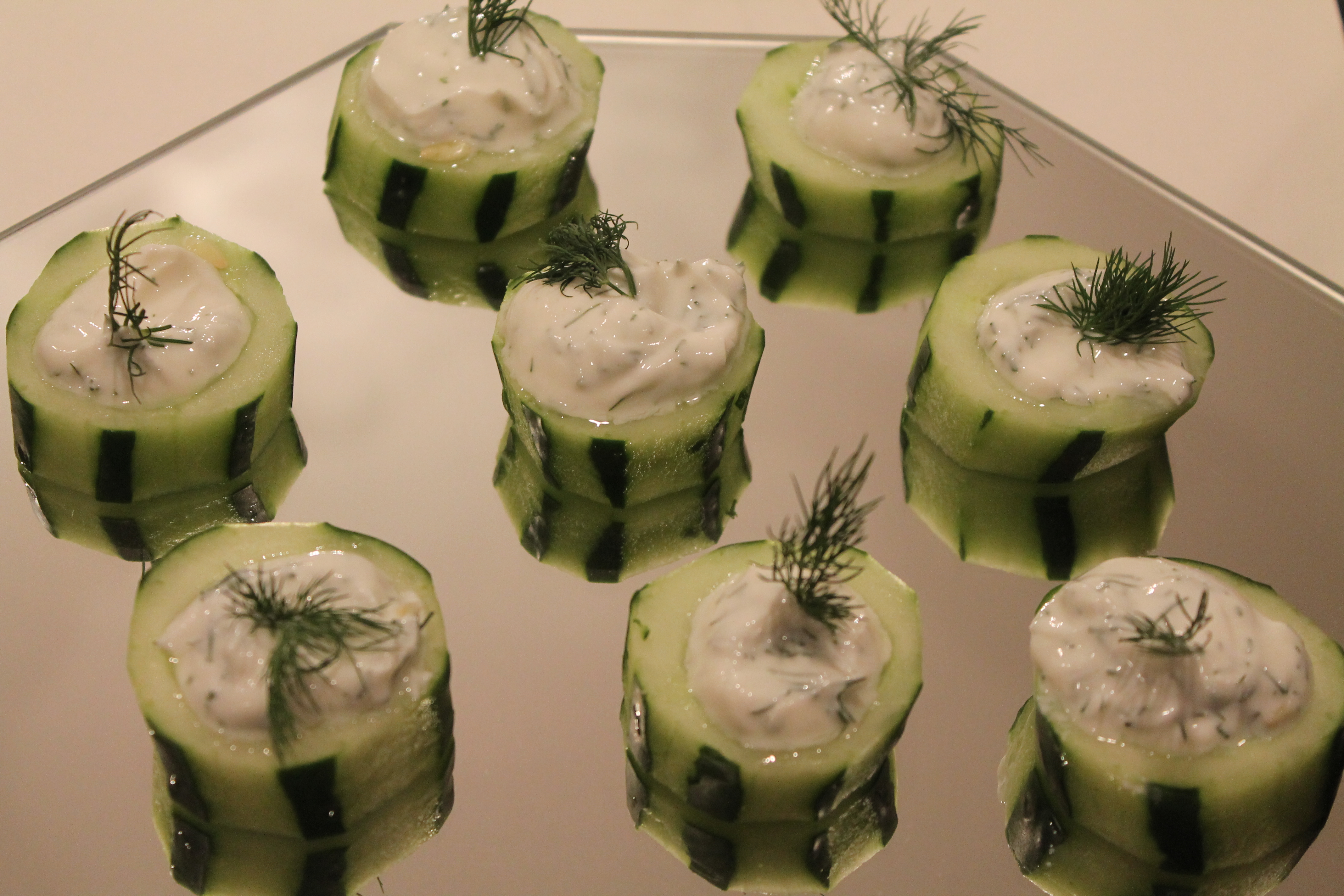 Cucumbers with plain yogurt, honey, and dill