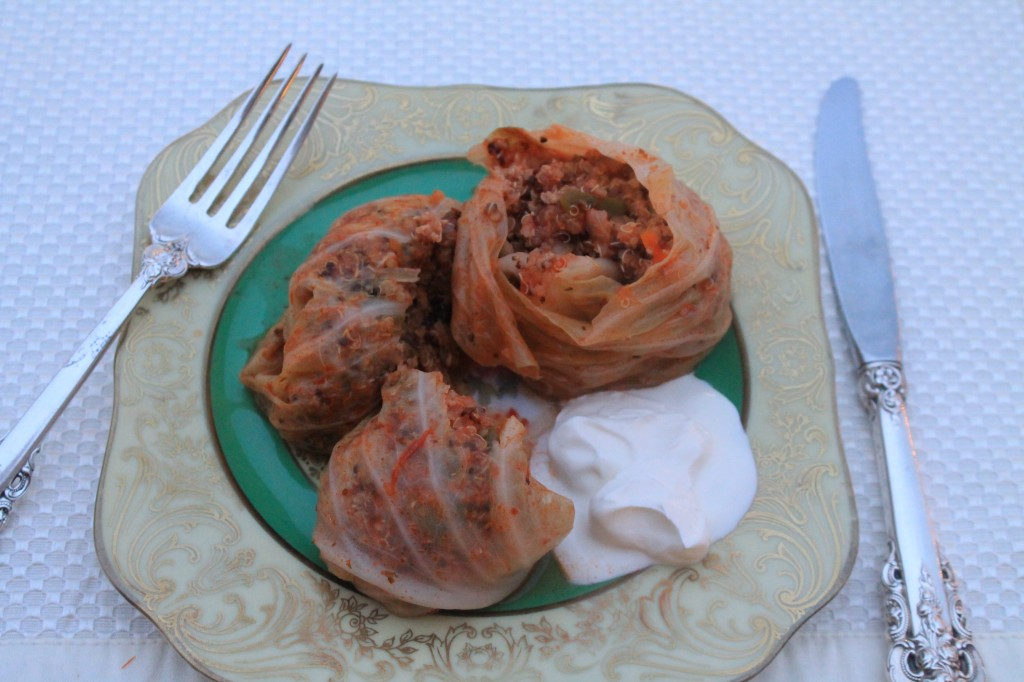Stuffed Cabbages with Tricolored Quinoa and Ground Turkey