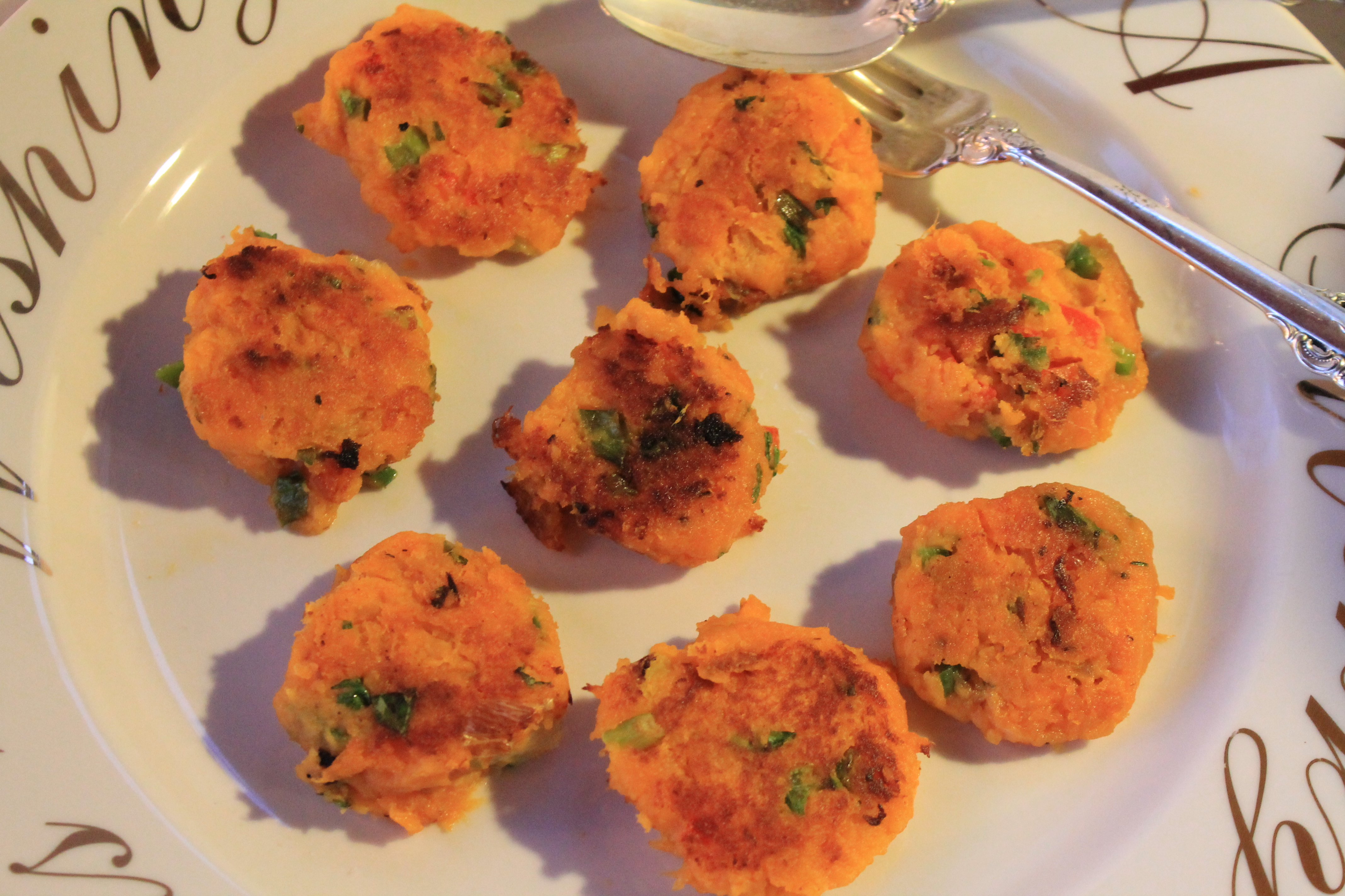 Mini Yam Pancakes, Jalapeno, Red Pepper, Scallions and Cilantro