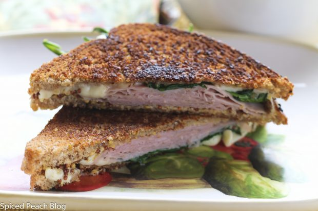 Grilled Comte, Ham, and Spinach on Multi-Grain