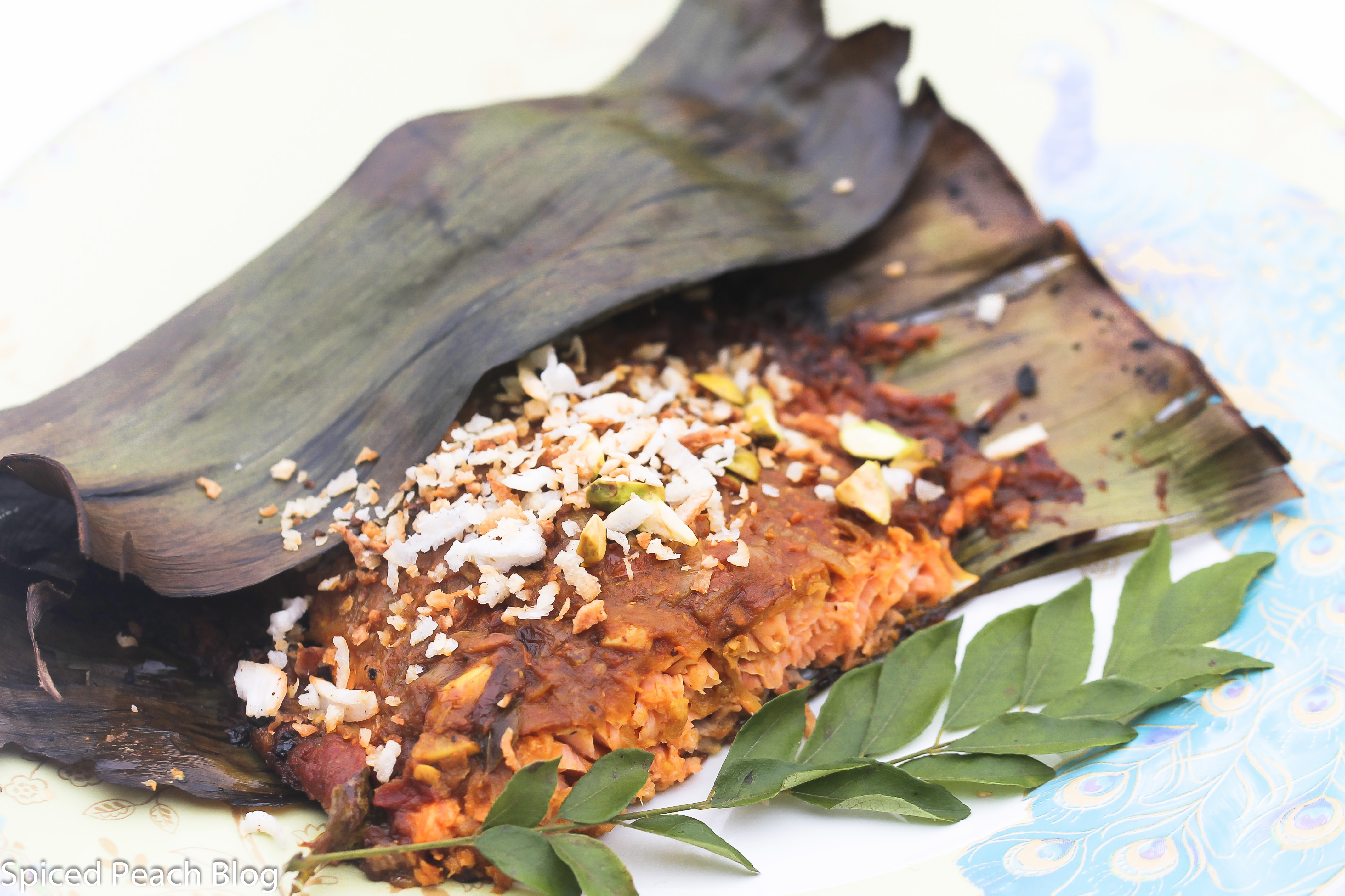 Jaya's Masala with Salmon in Banana Leaf, Kerala Style