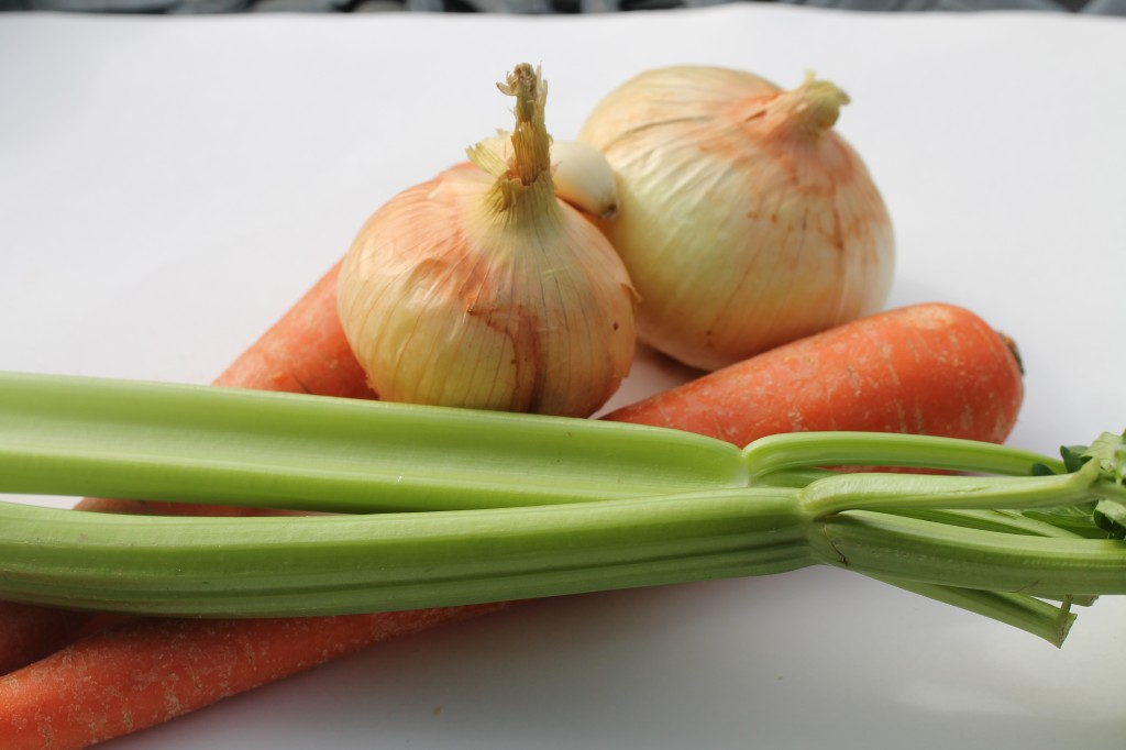 onions, carrots and celery for cooking lentils