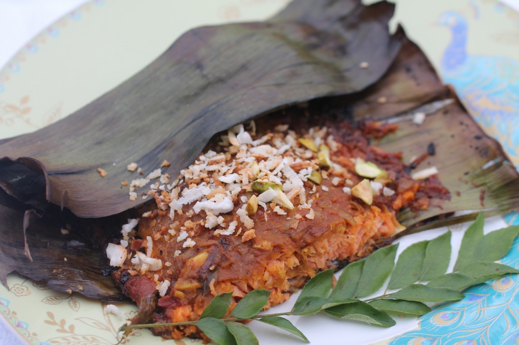 Kerala Style Masala With Salmon In Banana Leaf