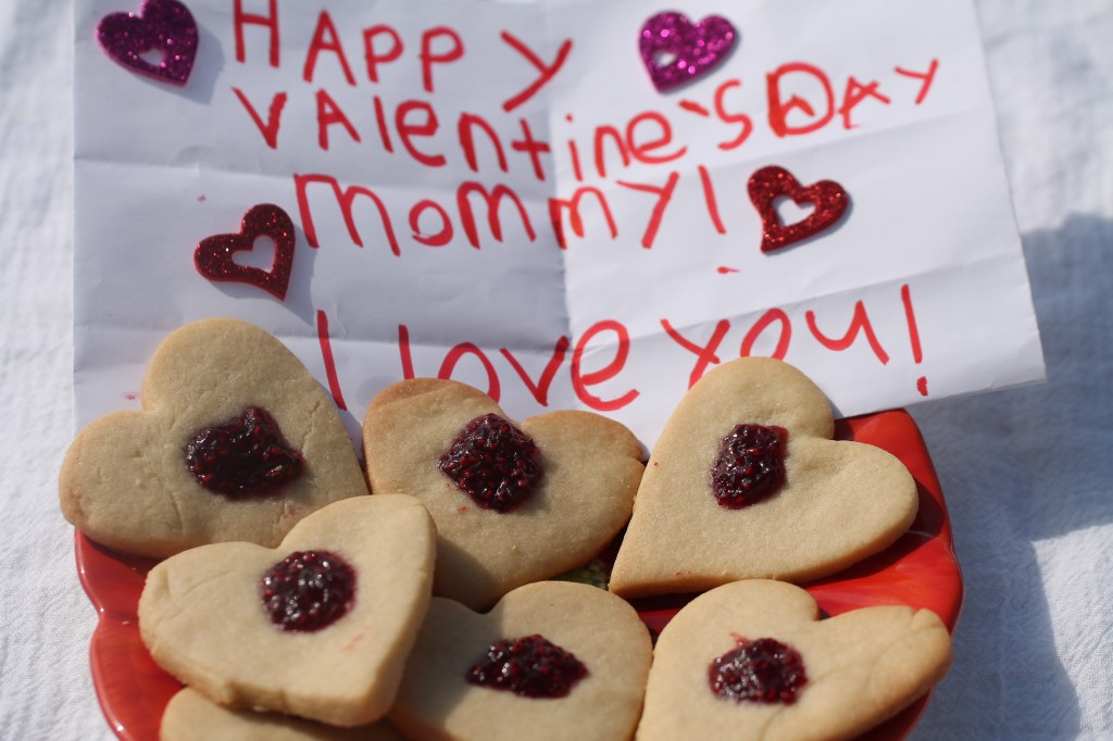 Cooking with Kids: Heart Shaped Buttery Cutout Cookies topped with jam