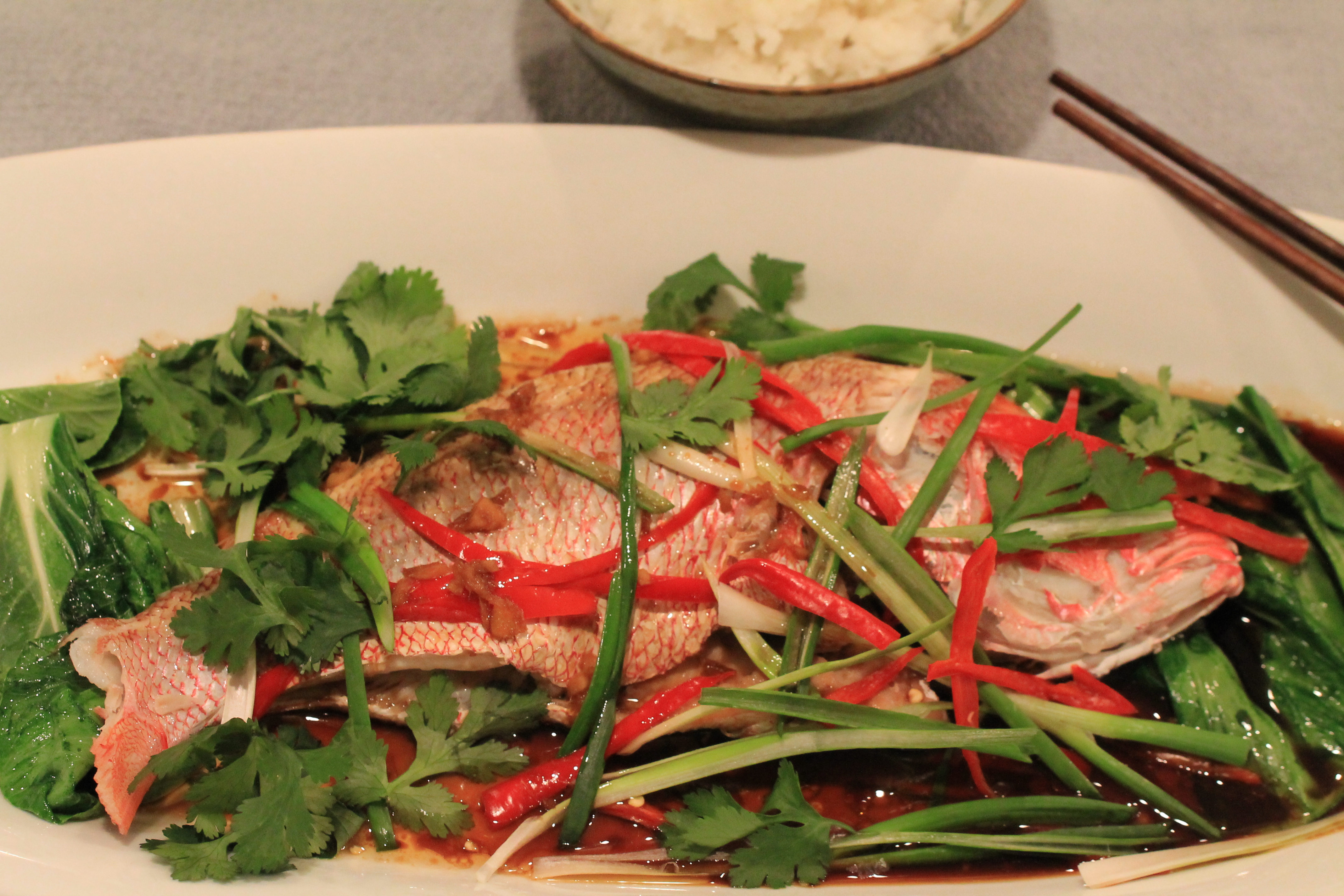 Lucky Steamed Fish and Baby Bok Choy