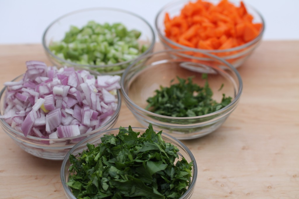 prepped ingredient items for French Lentil Salad