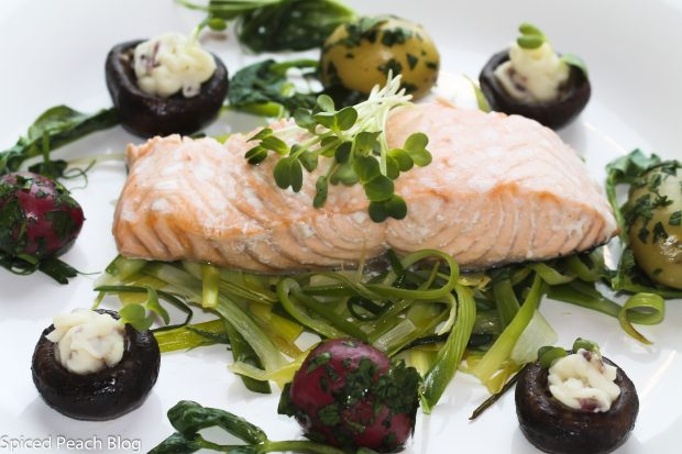 Poached Salmon on leeks