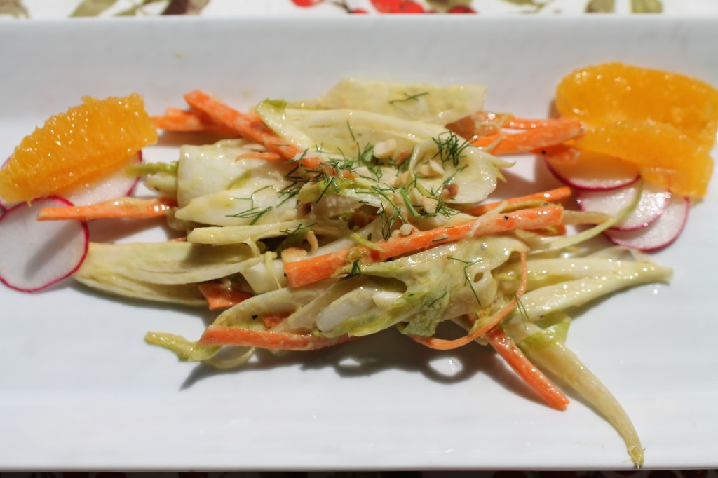 Fennel and Belgian Endive Salad with carrots, orange slices, Dijon and Grapeseed Oil