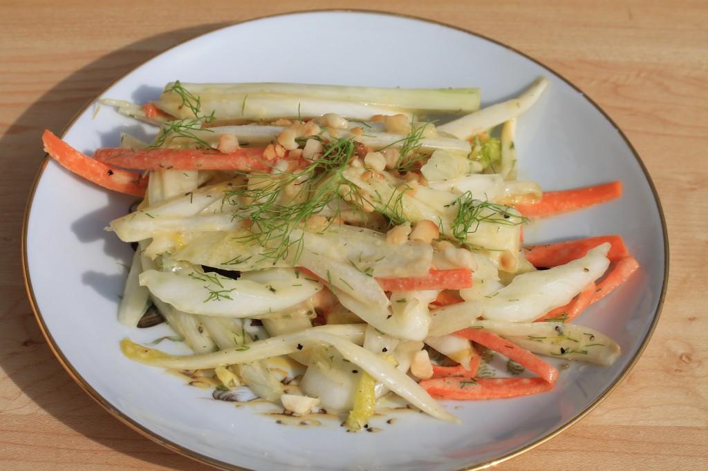Fennel, Belgian Endive, and Carrot Salad, Dijon, Pompeian Grape Seed Oil Dressing