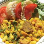 Saffron Infused Cannellini Beans, Andouille Sausage