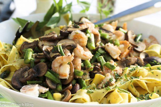 Farm Fresh Asparagus, Lemon Papparadelle, Mushrooms, Shrimp, Lemon Balm