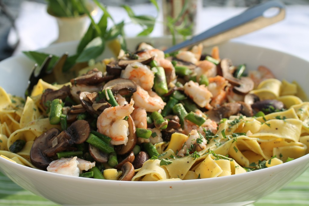 Farm Fresh Asparagus, Lemon Papparadelle, Mushrooms, Shrimp, Lemon Balm