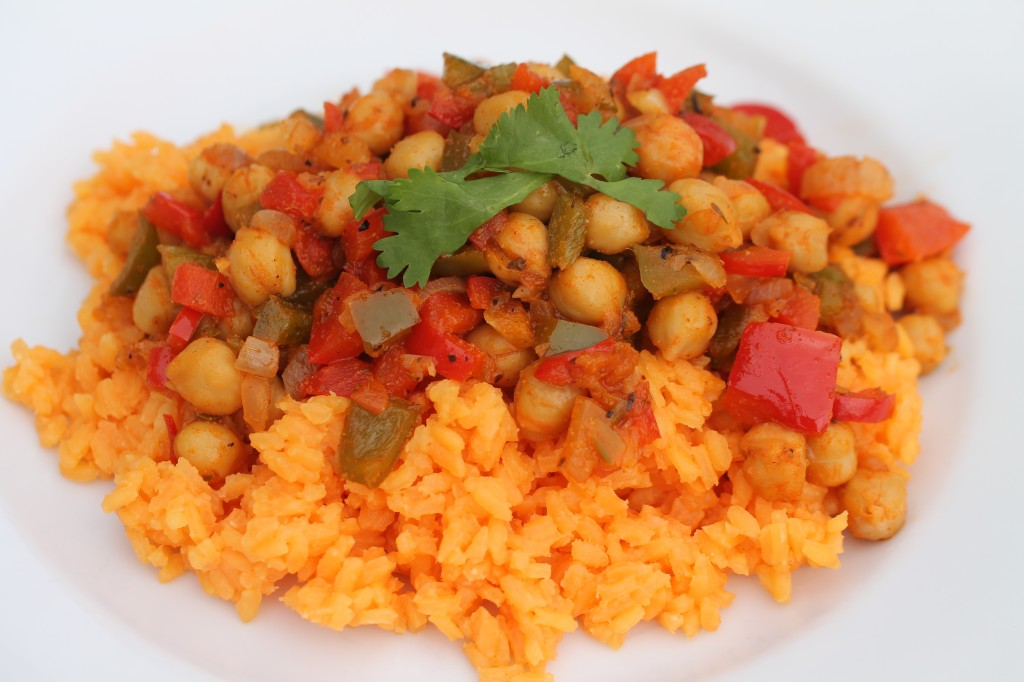 Cuban Soffrito with Garbanzo Beans on Rice
