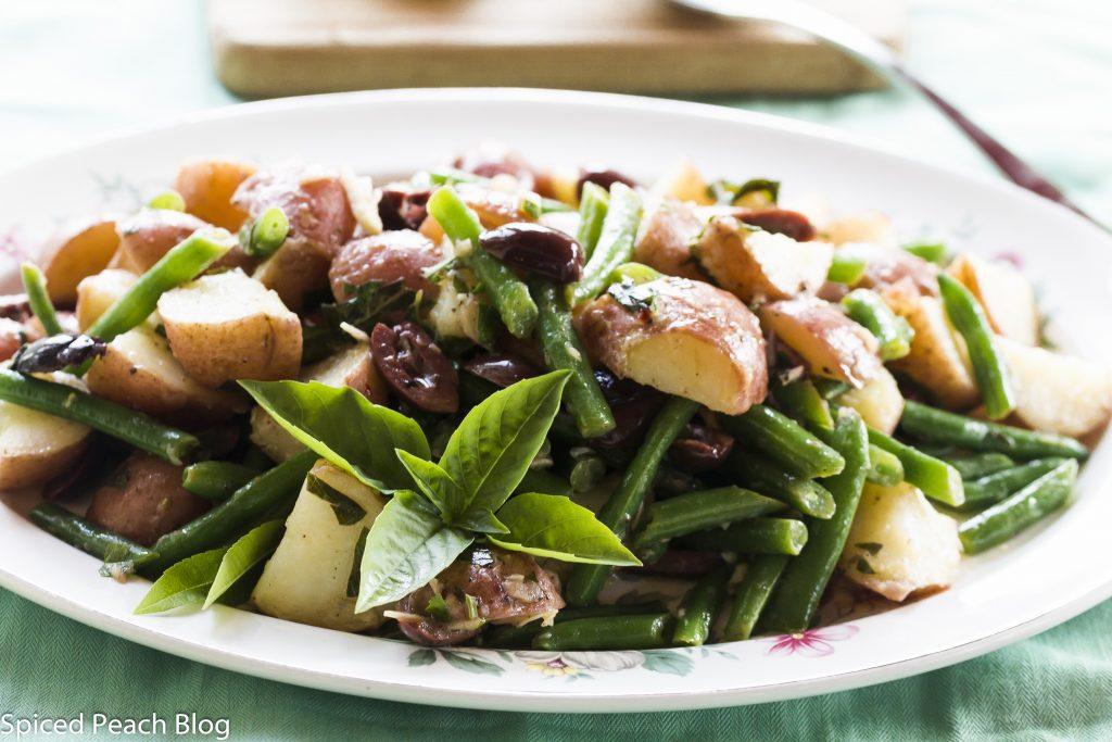 Potato Salad with Green Beans, Kalamata Olives, Anchovy Caper Dressing