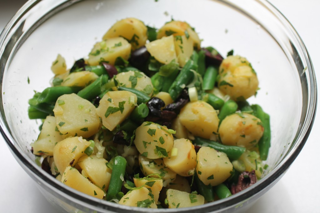 Potato Salad with Green Beans, Kalamata Olives, Anchovy Caper Dressing