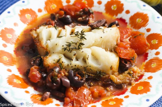 One Pan Cod with Tomatoes and Kalamata Olives