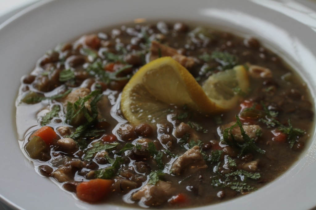 Lentil Soup with Lemon, Chicken and Mint
