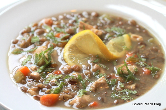Lentil Soup with Lemon, Chicken, and Mint