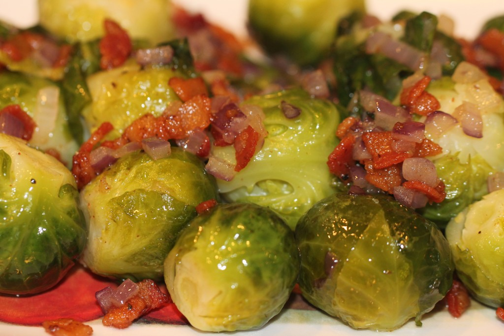 Perfectly Steamed Brussels Sprouts With Bacon And Red Onions