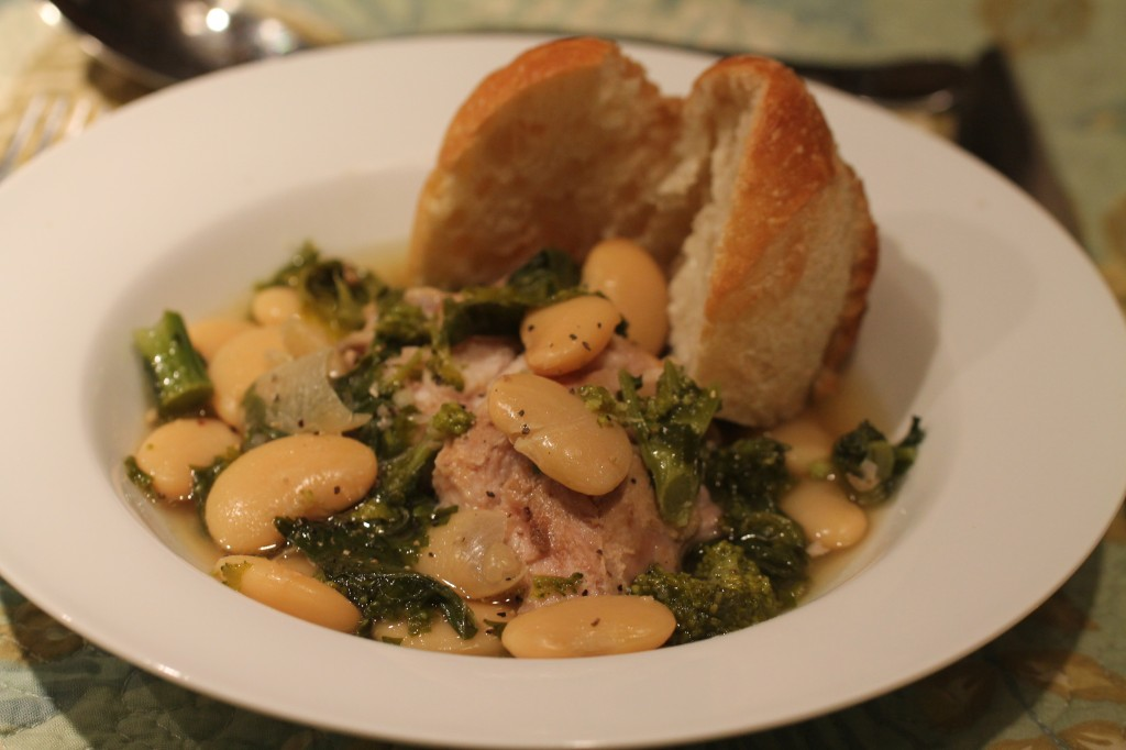 Slow Cooker Pork Roast with Butter Beans and Broccoli Rabe