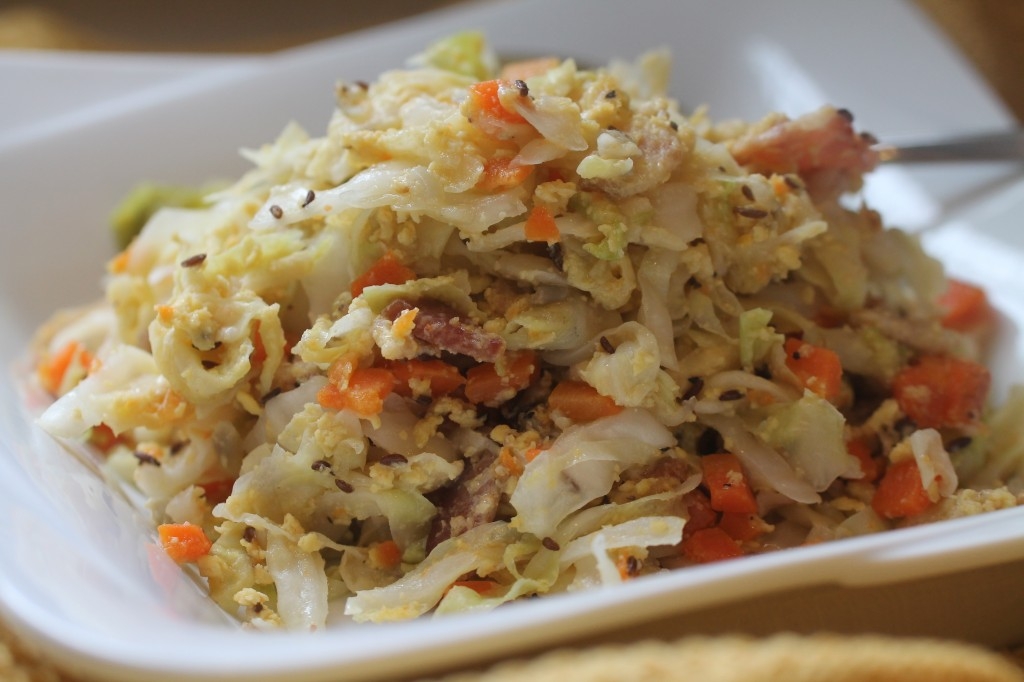 One Pot Cabbage, Caraway Seeds, Bacon, Eggs, Parmesan