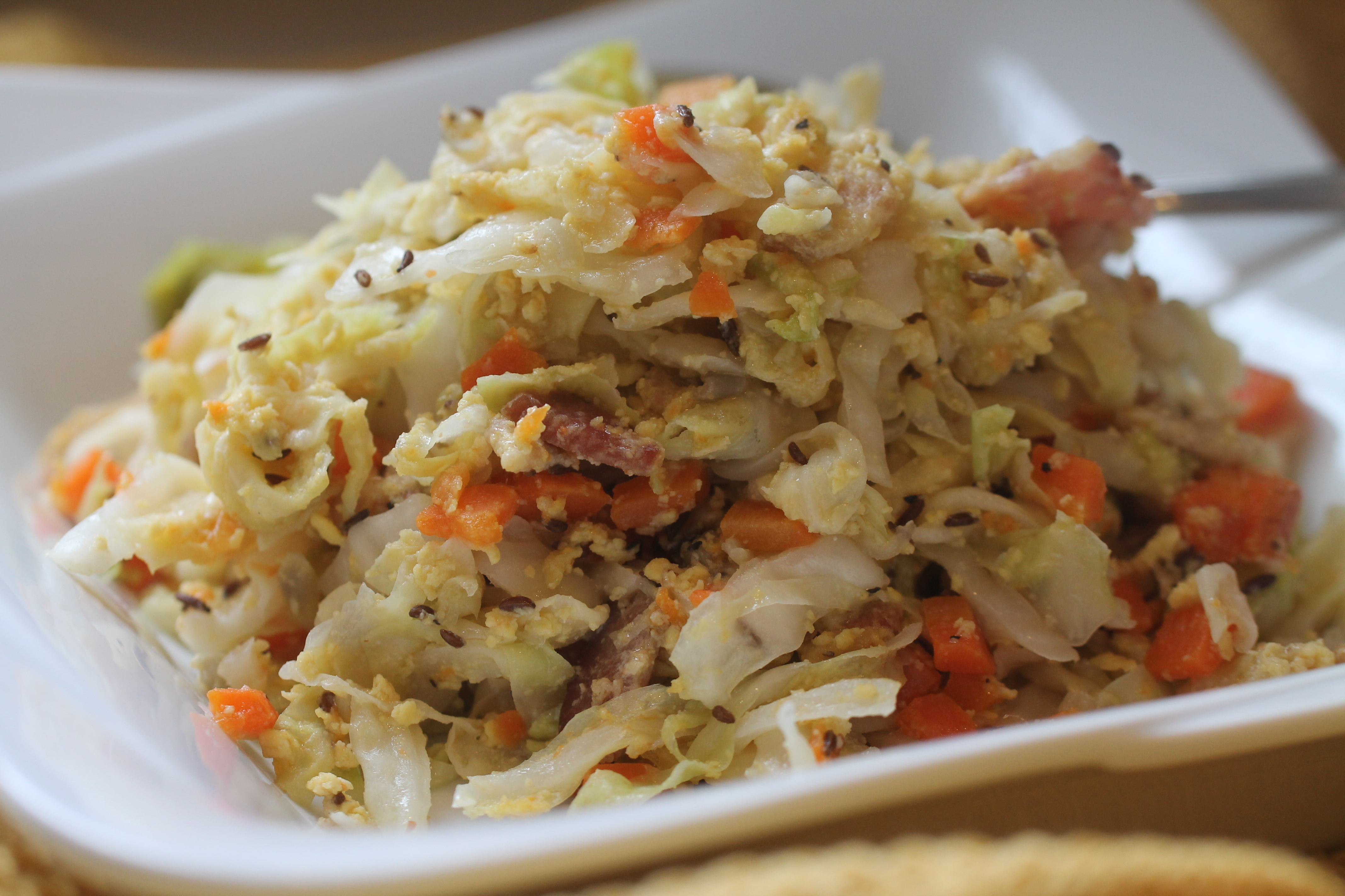 Malta Style, One Pot Cabbage, Caraway Seeds, Bacon, Eggs, Parmesan