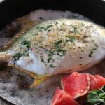 Baked Whole Pompano Grigliata on Sea Salt