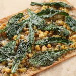 Tuscan Kale, Smashed Umbrian Chick Peas, Manchego, Thyme Blossoms, on Lavash