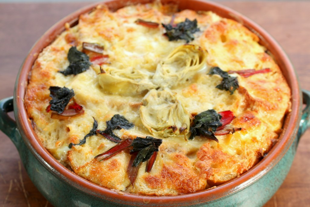 Savory Bread Pudding with Artichokes and Chard
