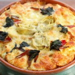 Savory Bread Pudding, Artichoke, Swiss Chard, (Milk,Butter,Cheese) It's National Dairy Month