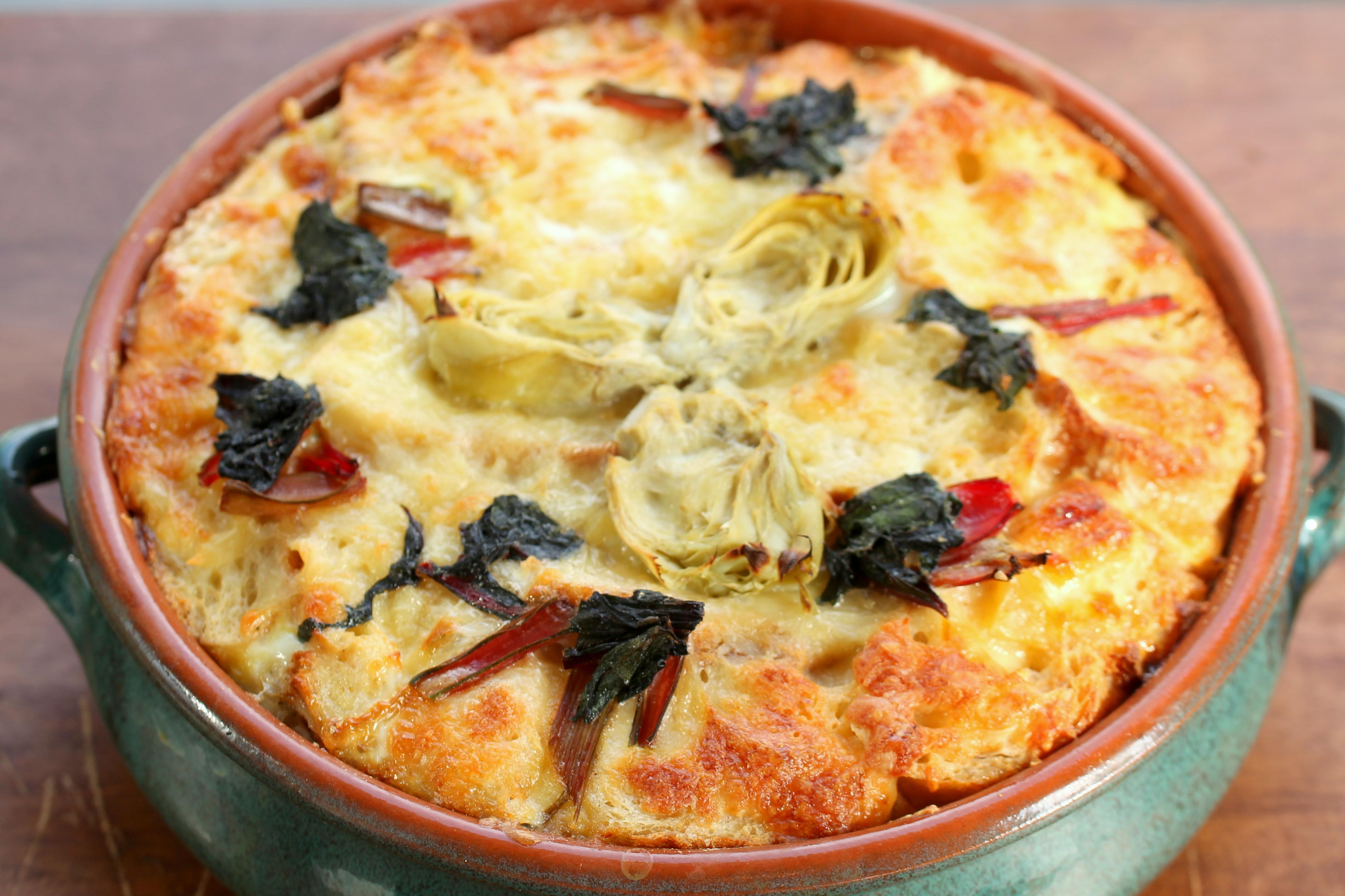 Savory Bread Pudding, Artichoke, Swiss Chard, (Milk,Butter,Cheese) It's National Dairy Month