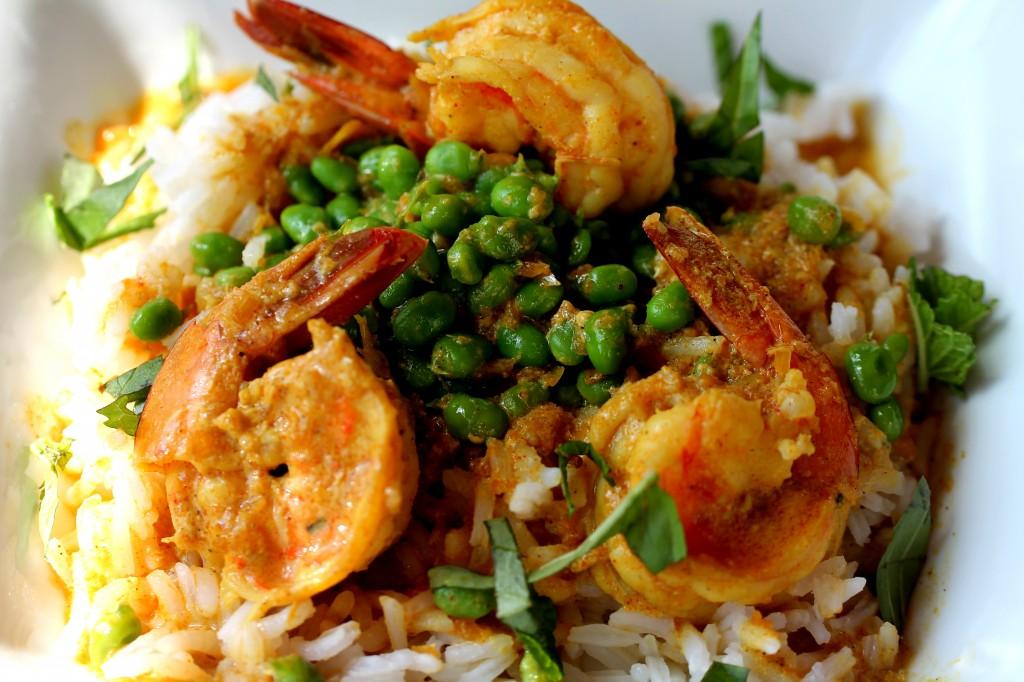 Curried Shrimp with Fresh Peas