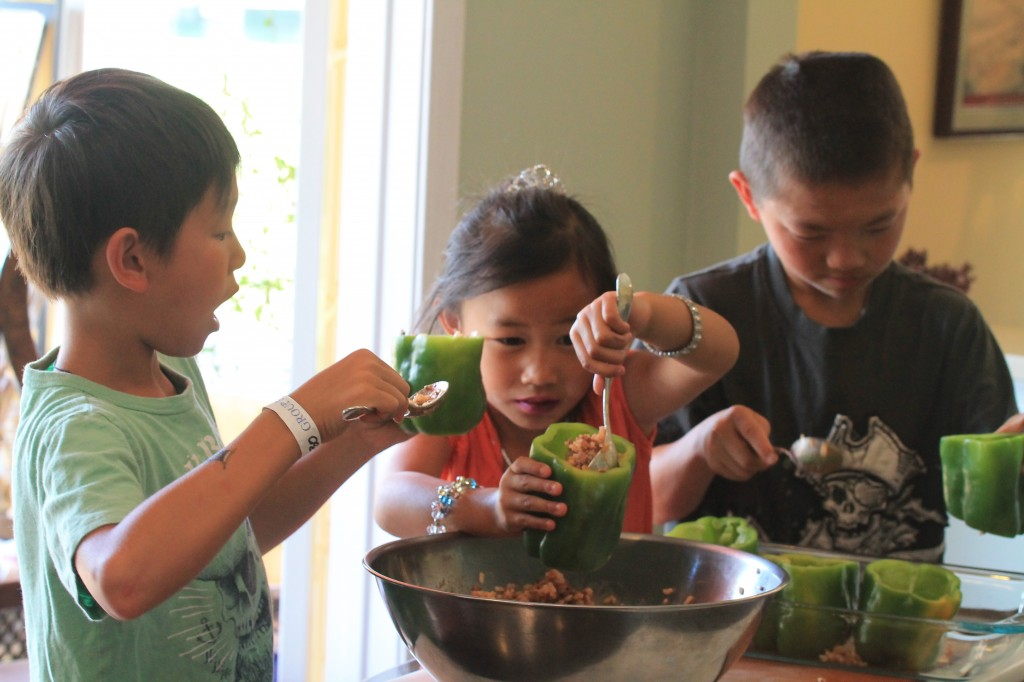 Cooking with Kids Stuffed Green Garden Peppers
