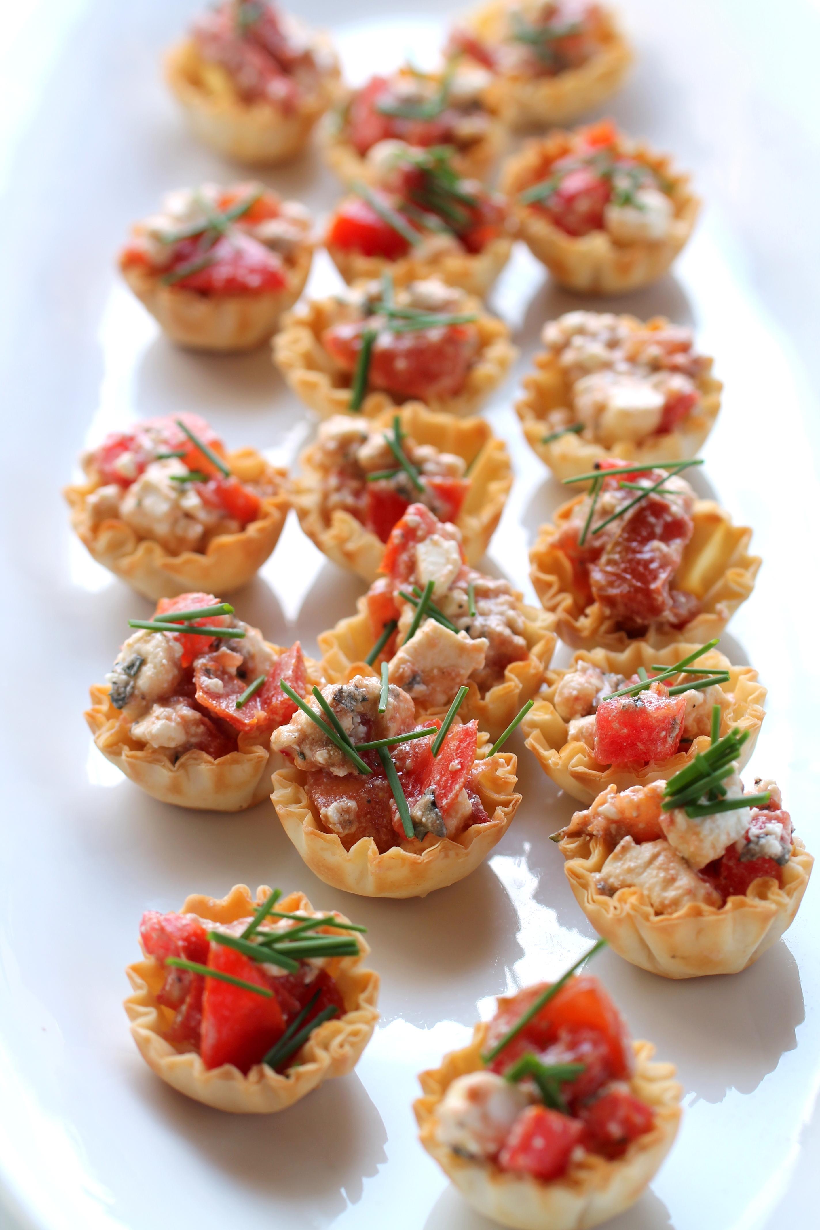 Quick and Easy Appetizer, Garden Tomatoes, Feta, fresh Oregano in Athens Mini Fillo Shells