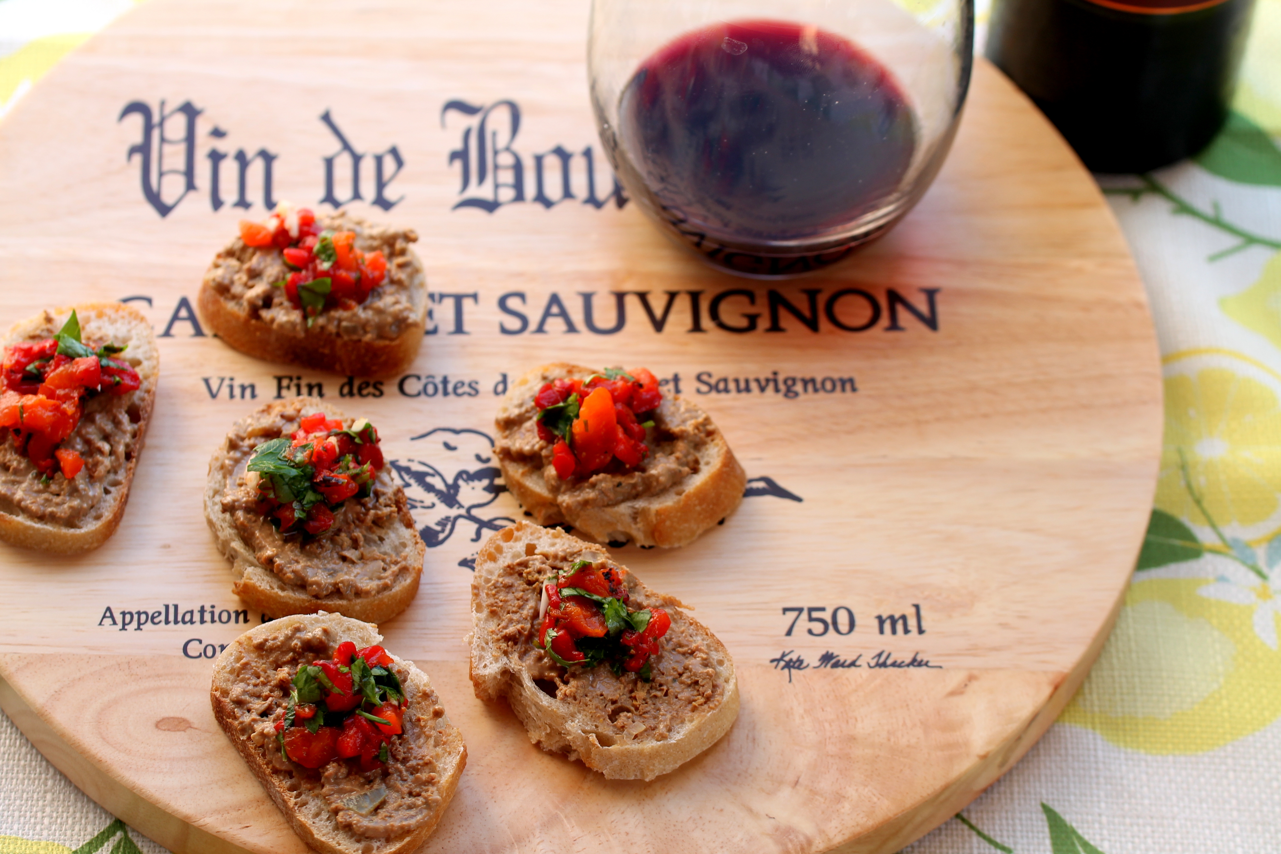 Chicken Liver Pate with Roasted Red Peppers on Toast
