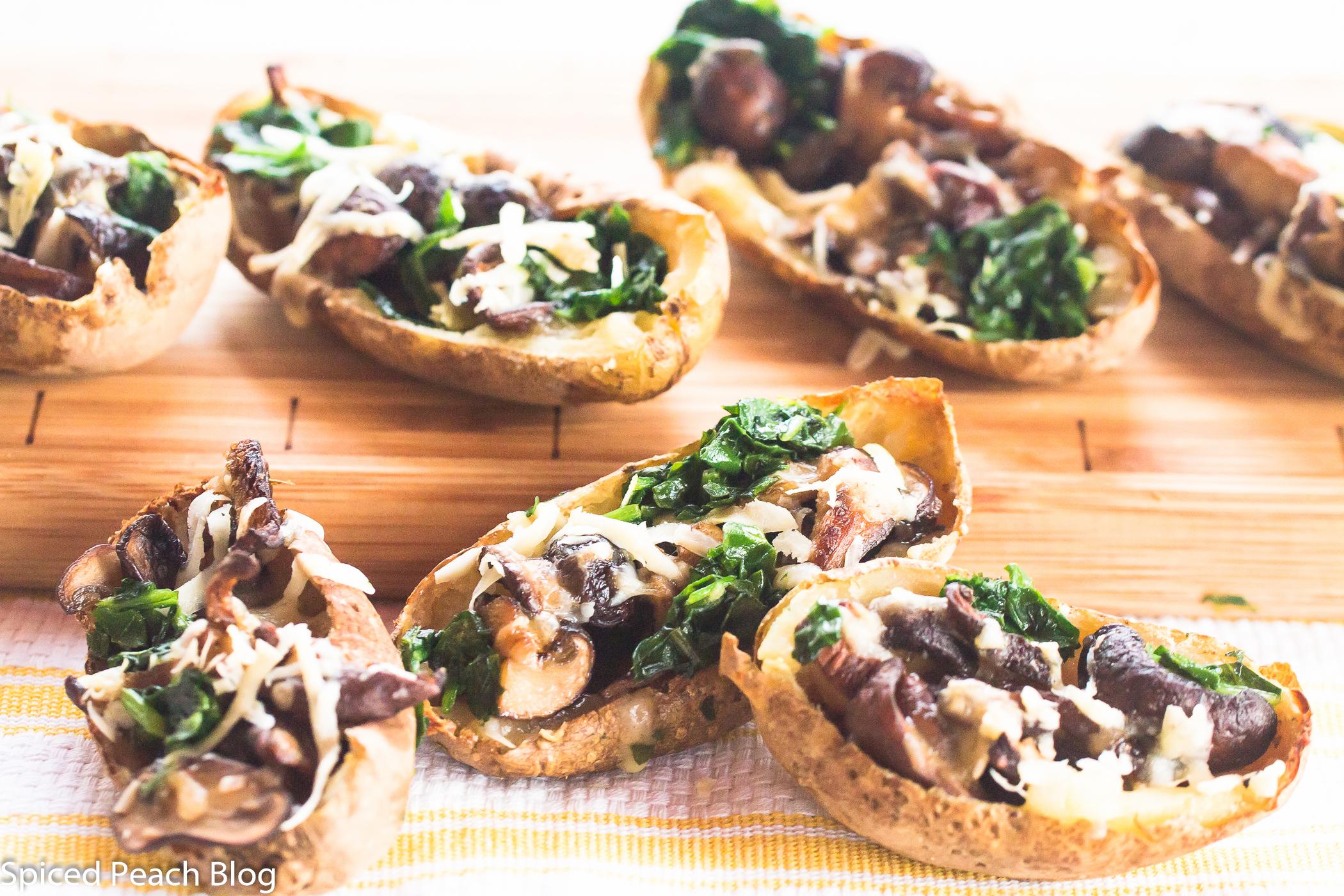 Baked Potato Skins, Mixed Mushrooms, Cheeses, Greens