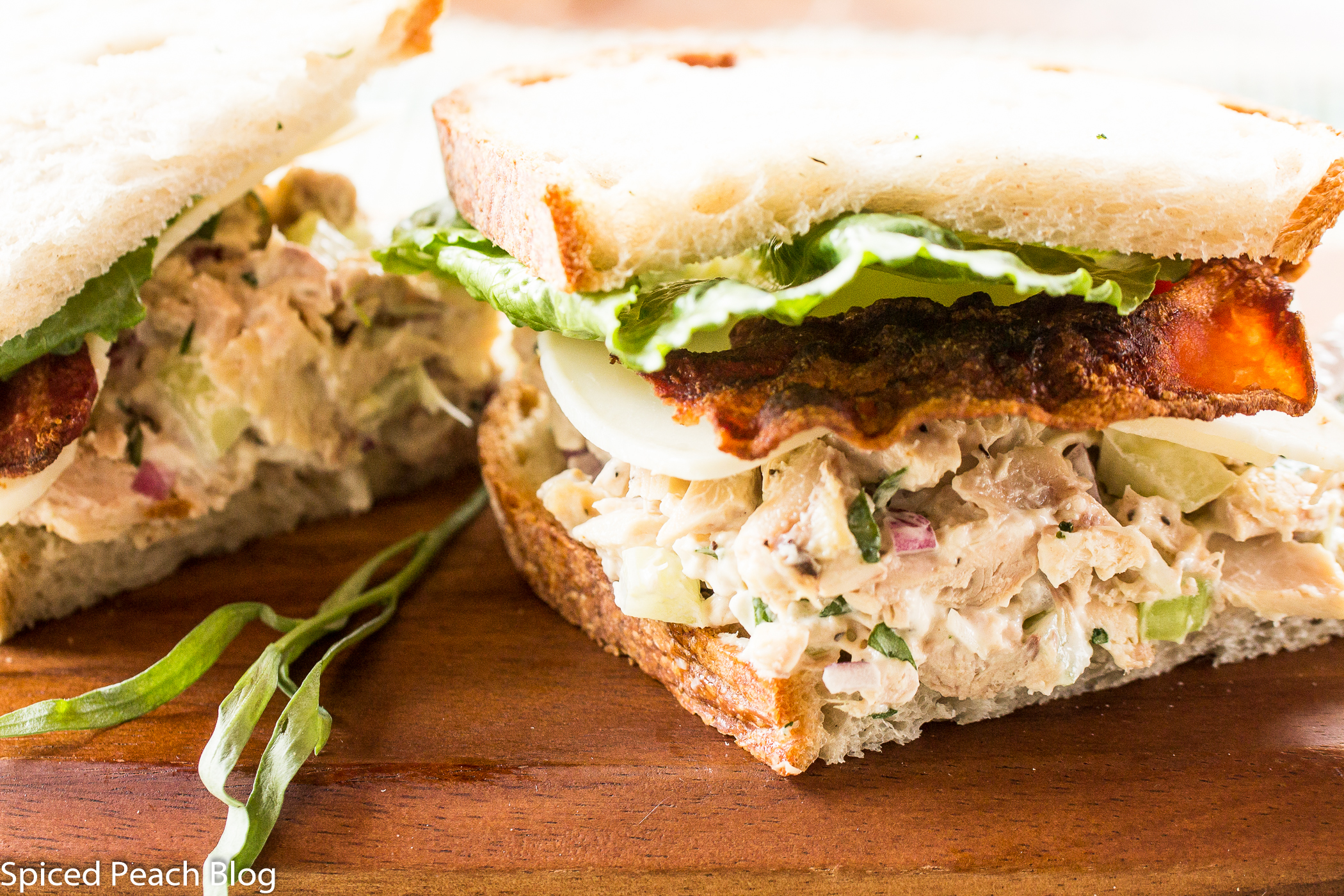 Tarragon Chicken Salad and Bacon on Crusty Sourdough - Spiced Peach ...