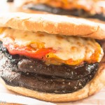 Grilled Portobello Mushrooms on Roll, Roasted Peppers, Vidalia Onion, Smoked Cheddar