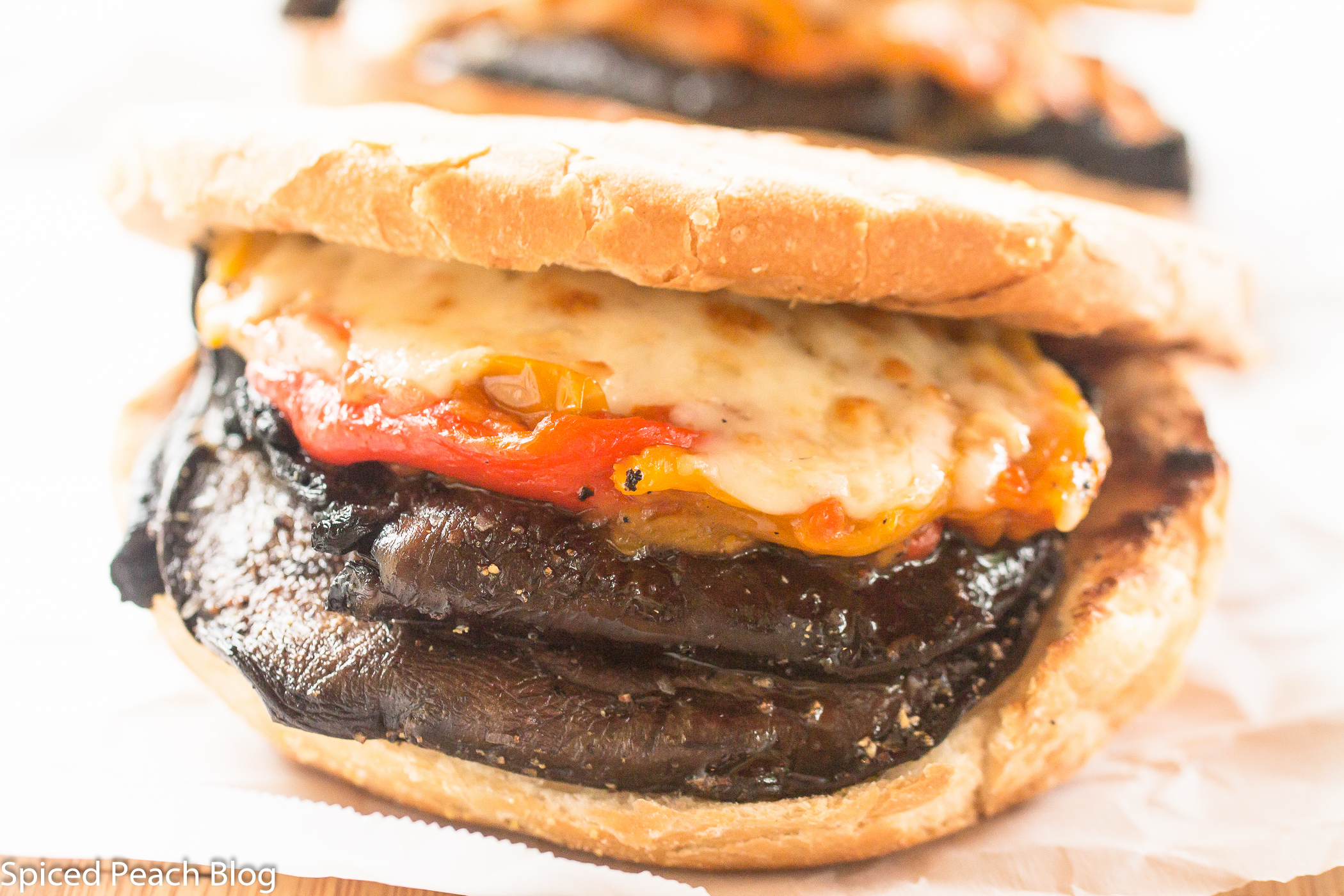 Grilled Portobello Mushrooms on Roll, Roasted Peppers, Vidalia Onion, Smoked Cheddar