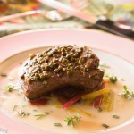 Green Peppercorn Steak, Herb Butter Sauce